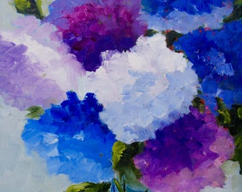 Modern Impressionist Original Oil Still Life of Hydrangeas by Rebecca Croft