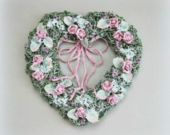 Flower Heart Wreath Rose Heart Wall Heart Decoration Floral Heart Shabby Chic Heart Pink Flower Wreath Pink Rose Wreath Clay Wedding Gift