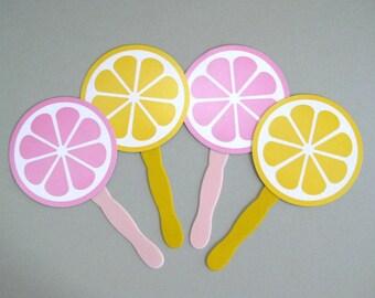 Lemonade Party Fan Favors Girl Birthday Party Favors Pink Lemonade Party Summer Party Paper Fan Decor Garden Party Hand Fan Yellow Lemonade