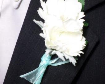 Boutonniere - Silk White Flower Boutonniere - Floral Boutonniere - Prom Boutonniere
