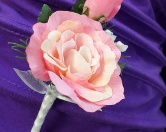 Boutonniere - Pink Silk Rose Boutonniere - Floral Boutonniere - Prom Boutonniere