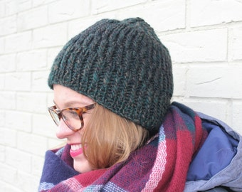 Green Alpaca Wool Chunky Knit Ribbed Hat, Green Knit Wool Toque, Green Gray Wool Beanie, Warm Winter Hat for Men Women, Wool Knit Hat Men
