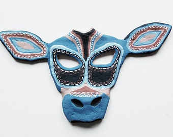 Handmade Cow Mask Plaque in Blue Painted Fine Art Wall Hanging Animal Rustic Decor.