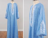 Vintage 70s BILL TICE chambray embroidered caftan maxi dress / Bell sleeves / Plunging neckline