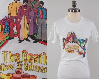 RARE Vintage 70s The Beatles YELLOW SUBMARINE t shirt / Soft thin white tee / Screen printed graphic