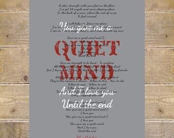 Blue October, Blue October Lyrics, Quiet Mind Lyrics, Home, Blue October Quiet Mind Lyrics, Wall Decor, Song Lyrics Prints
