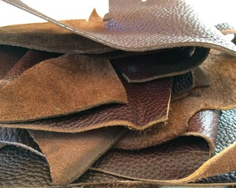 Brown Textured Leather Scraps - 1 LB - remnant pieces