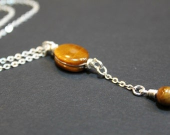 Golden Tigers Eye Minimalist Pendant Necklace, Sterling Silver Chain , Bridesmaid Gift, Wedding Gift
