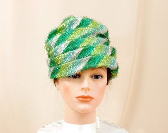 Vintage Gold and Green Turban Hat * Lamet Hat * 60s Hat * 1960s Hat * Pillbox Hat * Church Hat * Costume Hat * Halloween Costume