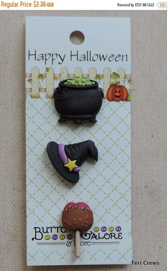 SALE Bewitching Buttons, Happy Halloween Collection by Buttons Galore, Includes Witch Hat, Brew and Taffy Apple, Carded Set of 3 Buttons