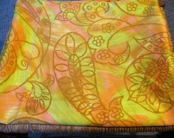 """Vtg 1960s Pink & Lime Green Large Paisley and Botanical Print Silky Synthetic Fabric, Hippie Boho,  45"""" x 113"""" 3 YDs"""