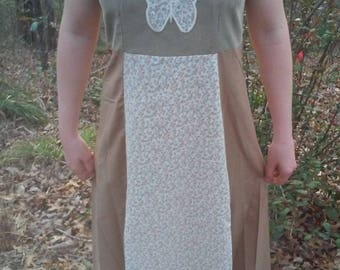 Corduroy Calico Dress, Recycled Corduroy Dress, Festival Dress, Hippie Dress, Calico Dress, Grateful Dead Dress, Festival Bling, Dead and Co