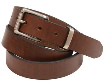 "Men's Narrow 1 1/8"" Plain dress Belt Walnut Retanned Leather Roller Buckle And Loop Set Made In America"