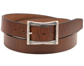 """Men Or Women's Plain 1 3/8"""" Retanned Walnut Leather Belt Center bar Buckle Square Tip Casual Made In USA"""