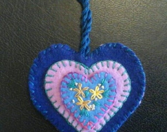 Embroidered floral wool felt heart ornament blue and lavender