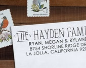 Return Address Stamp, Custom Address Stamp, Wedding address stamp, Calligraphy Stamp, Self inking or Eco Mount stamp  - Hayden
