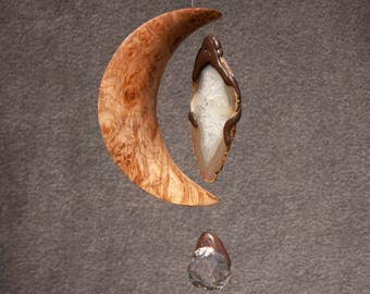 Maple Burl Wood Crescent Shaped Mobile Sun Catcher Kenitic Art Wood Sculpture 5th Wedding Anniversary Gift Handcrafted in Oregon Energy Love