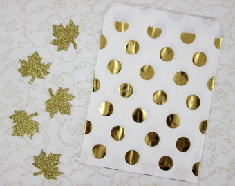 12 pcs - Gold Foil Paper Bags - Dot Paper Bags - Treat Bags - Favor Bags - Party Supplies - Ready to ship