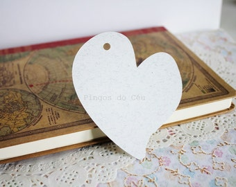 25 Heart Tag - Cardstock 260gr - 9 x 9 cms - Gift tag - Price Tag - Wedding Rustic Tag - Ready to Ship.