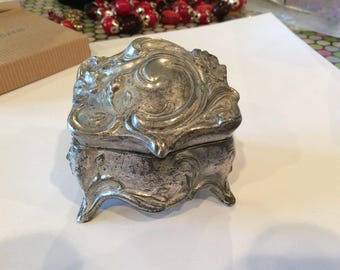 Vintage Silver Plated Jewelry Box, Antique Floral Filigree design, Needs Hinge Pin, Ring Box