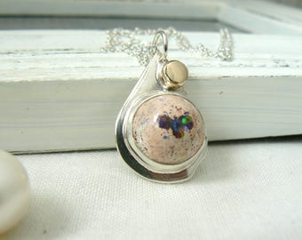 Sterling silver and Mexican Fire opal Pendant - Jewelry 925 Gemstones - READY TO SHIP