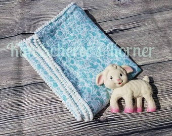 "Mini Pom Trimmed Blue Mist Bunny and Floral Receiving/Swaddle Blanket - 38.5"" x 28.5"""