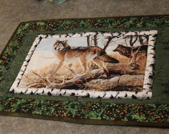 Green Berries Branches Wolf Lodge 15 1/2  X 23   Table Runner Topper
