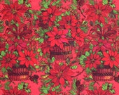 Vintage Christmas Wrapping Paper - Baskets of Poinsettias - Holiday Wrapping Paper