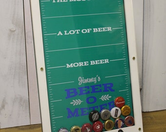 Beer O Meter/Bottle Cap Holder/Bottle Cap Display/Football/Beer Decor/Bar Decor/Team Colors/Man Gift/Bottle Cap Collector/ Beer Cap Display