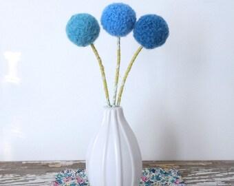 Yarn pom pom felt flowers.  Peacock blue, turquoise, sea blue.  Felted wool balls.  Boys room Nursery decor. Faux flower bouquet. Sputnick