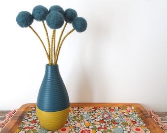 Dark Blue Pom pom Flowers.  Felt Flower Centerpiece.  Wool Poms.  Dip dyed Vase with Flowers.  Merino Wool Balls.  Billy buttons, Billy Ball