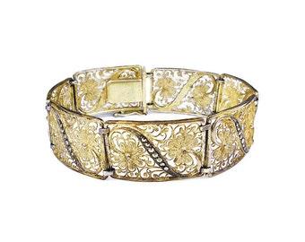 German Sterling Gold Plated Marcasite Bracelet - Gold Vermeil, Silver 835, Marcasite Bracelet, Filigree, Vintage Bracelet, Vintage Jewelry