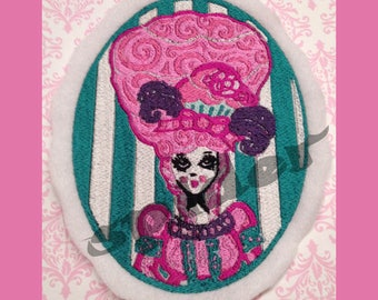 Marie Antoinette Let them eat Cake  Embroidered Patch Embroidery Pink  Patch Patches Iron On Pretty Patches