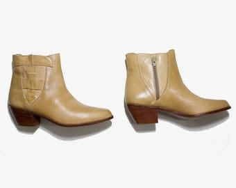 Vintage Ankle Boots 9 / Leather Ankle Boots / Tan Leather Boots / Ankle Boots Women / Zip Up Boots / Woven Leather Boots