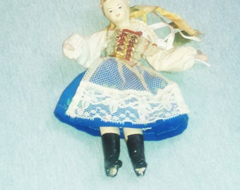 Vintage Doll from Poland, Composition on Wire Armature, Krakow Style NL