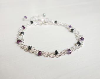 Chain bracelet set double layering bracelets purple grey beads two bracelets set minimalist bracelets for women