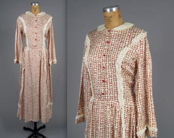 1930s abstract print day dress • vintage 30s dress •  long summer dress