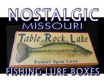 Table Rock Lake lake house fishing decor nostalgic fishing lure boxes 4YourLake