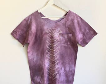 Purple Hand Dyed Top With White Moth Print