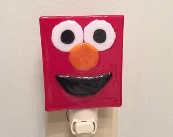 Fused Glass Elmo Night Light - Ready to Ship