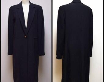 VINTAGE EMANUEL UNGARO Black Tissue Weight Wool Full Length Coat Blazer Size 12