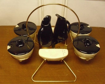 Vintage 1950's/1960's  Condiment Set w/Caddy  Deadstock