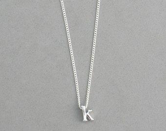 Rhodium Initial k Necklace