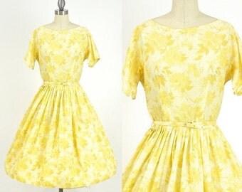 SALE 50s Full Skirt Dress, 1950s Floral Dress, L'Aiglon Cotton Day Dress 26 Waist