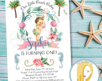 Beach Birthday Party Invitation, Beach Invitation, First Birthday Party Invitation, Seashell Starfish, DIY, Printed or Printable Invitations