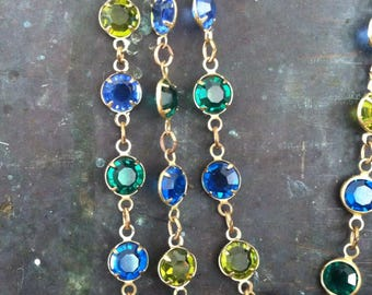 Vintage manufacturer sample glass bead looped strand , blue, green, citrine