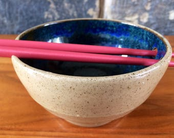 Chopstick sushi rice bowl stoneware pottery ceramic blue green glaze