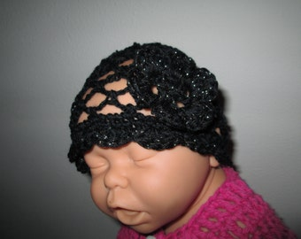 Baby Girl Cloche Hat by SuzannesStitches, Preemie Baby Girl Cloche Hat, Newborn Baby Girl Cloche Hat, Baby Girl Black Hat, 3-12 Month Hats