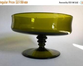 Vintage 1960's Green Glass Pedestal Fruit Bowl