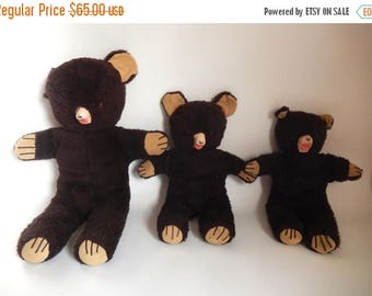 3 Mid Century The Three Bears Stuffed Animal Teddy Bears - Papa Mama Baby